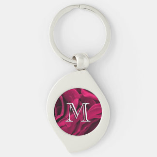 Fuchsia pink velvet roses floral photo Silver-Colored swirl keychain