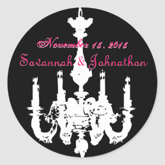Fuchsia Pink Vintage Chandeliers  Wedding Stickers