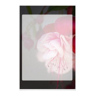 Fuchsia Pink White and Red Flowers Stationery Paper