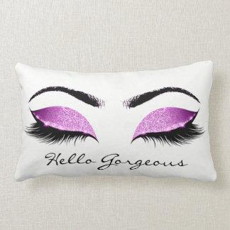 Fuchsia Pink White Makeup Lashes Hello Gorgeous Lumbar Pillow