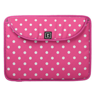 Fuchsia Pink & White Polka Dots Macbook Sleeve