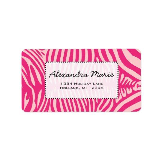 Fuchsia & Pink Zebra Skin Change Background Colour Label