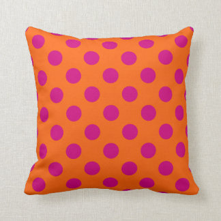 Fuchsia polka dots on orange throw pillow