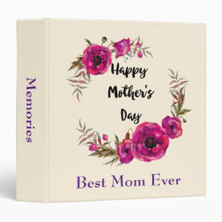 Fuchsia Poppies Floral Wreath Happy Mother's Day Binder