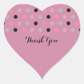 Fuchsia Pretty Polka Dots Thank You Heart Sticker