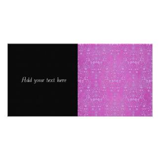 Fuchsia Purple Floral Damask Pattern Personalized Photo Card