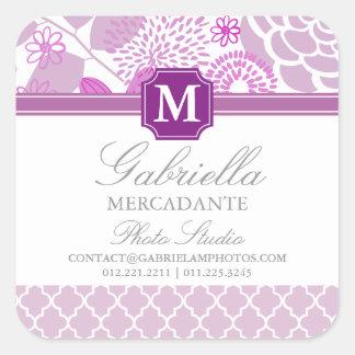 Fuchsia Purple Lilac Chevron Floral Monogrammed Square Sticker