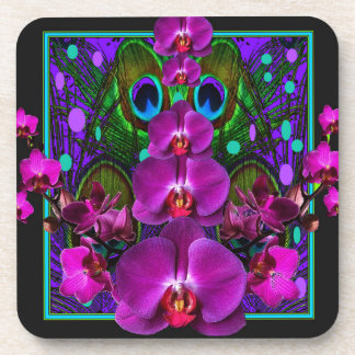 Fuchsia Purple Orchids Green-black Design gifts Beverage Coasters