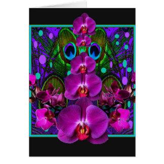 Fuchsia Purple Orchids Green-black Design gifts Card