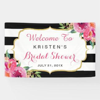 Fuchsia Purple Red Floral Stripes Bridal Shower Banner