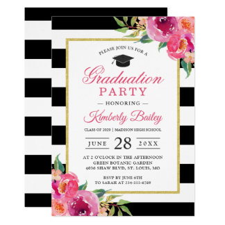 Fuchsia Purple Red Floral Stripes Graduation Party Card
