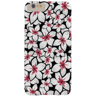 Fuchsia Red and white frangipani art on black Barely There iPhone 6 Plus Case