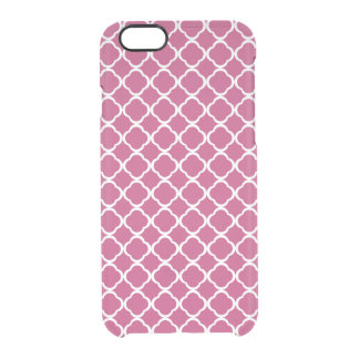 Fuchsia Rose and White Clover Quatrefoil Clear iPhone 6/6S Case