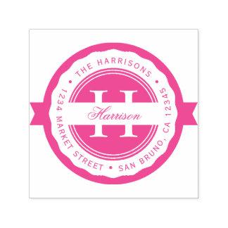 Fuchsia Round Badge   Monogram Return Address Self-inking Stamp
