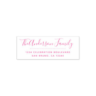 Fuchsia Script | Cute Calligraphy Return Address Self-inking Stamp