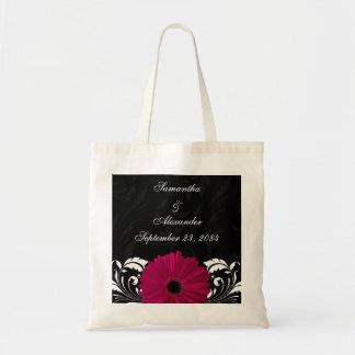 Fuchsia Scroll Gerbera Daisy w/Black and White Budget Tote Bag