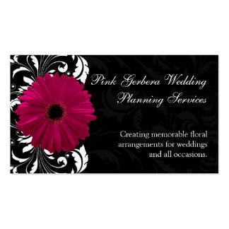 Fuchsia Scroll Gerbera Daisy w Black and White Business Card Template