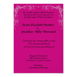 Fuchsia Scroll Wedding Invitations