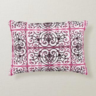 Fuchsia scrollwork pattern accent pillow