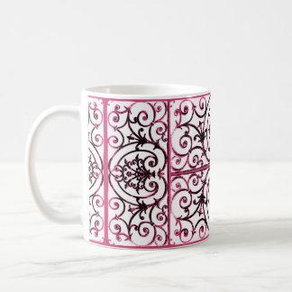 Fuchsia scrollwork pattern coffee mug