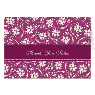 Fuchsia Sister Thank You Matron of Honor Card