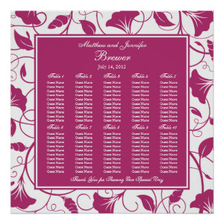 Fuchsia Square Wedding Reception Seating Chart Poster