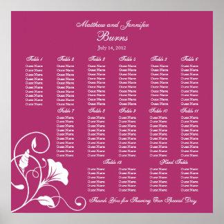 Fuchsia Square Wedding Reception Seating Chart Poster