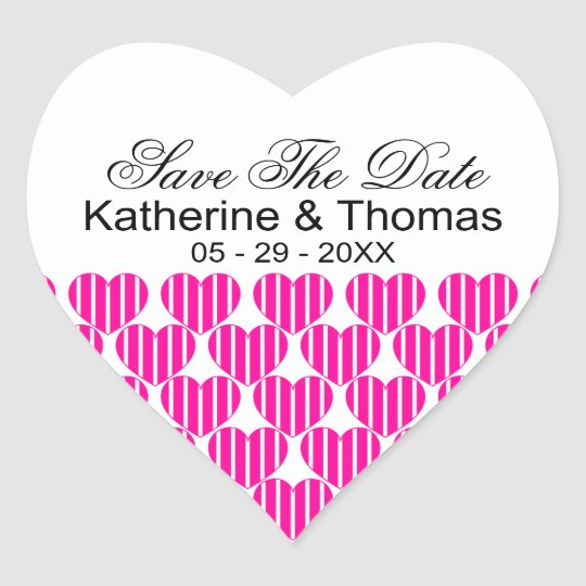 Fuchsia Striped Hearts Save The Date Stickers