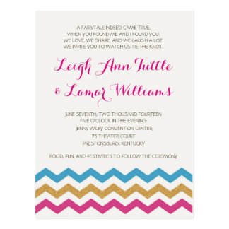 Fuchsia, Teal, & Gold Chevron - Wedding Invitation Postcard
