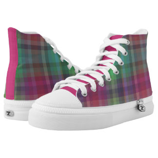 Fuchsia/Teal/Purple Plaid High Top Sneakers
