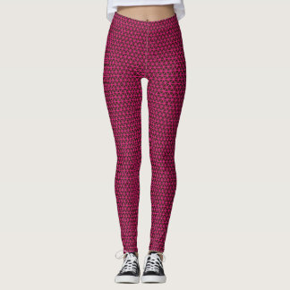 Fuchsia Triangles on Black Leggings