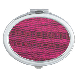 Fuchsia Triangles on Black Mirrored Compact Makeup Mirrors