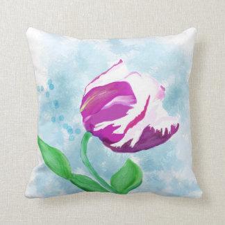Fuchsia Tulip Watercolor Pillow
