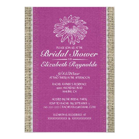 Fuchsia Vintage Lace Bridal Shower Invitations