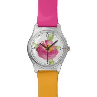 Fuchsia Watercolor Wildflowers Watch