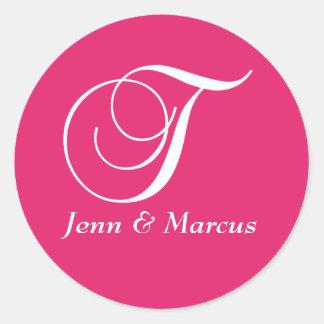 Fuchsia White Monogram T Names Wedding Sticker