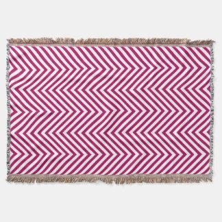 Fuchsia & White Zigzag - Throw Blanket
