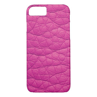 Fuchsia Wrinkled Faux Soft Leather iPhone 7 case