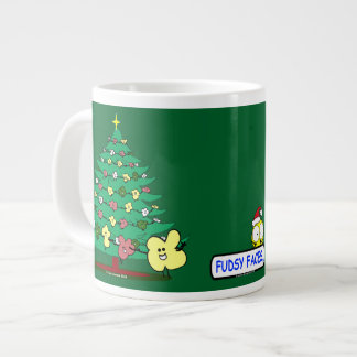"""Fudsy Faces"", Merry Christmas Holly and Tree Large Coffee Mug"