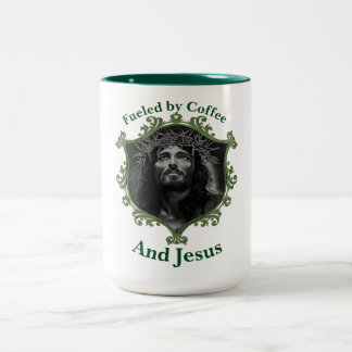 Fueled by Coffee and Jesus With A Green Frame Two-Tone Coffee Mug
