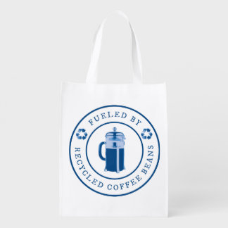 Fueled by Recycled Coffee Beans Round Badge - Blue Reusable Grocery Bag