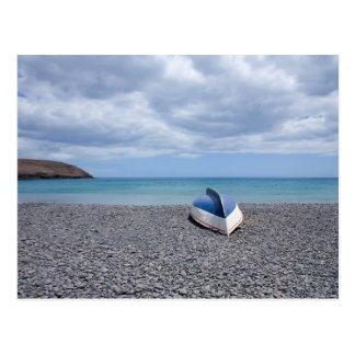 Fuerteventura, black volcanic pebble beach postcard