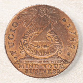 Fugio Cent Mind Your Business Copper Penny Coaster