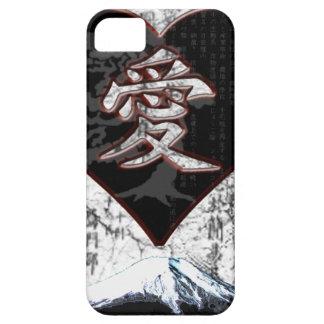 Fuji Heart  - Kanji Love - Black & Red Case For The iPhone 5