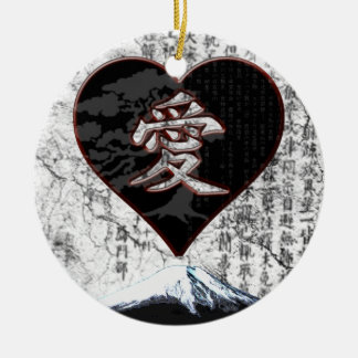 Fuji Heart  - Kanji Love - Black & Red Ceramic Ornament