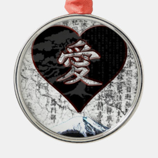 Fuji Heart  - Kanji Love - Black & Red Metal Ornament