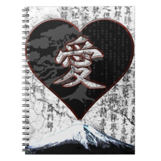 Fuji Heart  - Kanji Love - Black & Red Notebooks