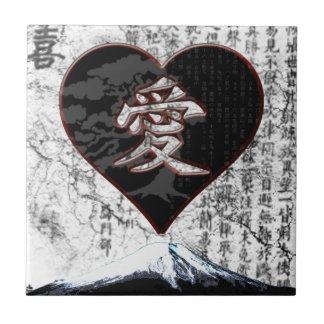 Fuji Heart  - Kanji Love - Black & Red Tile