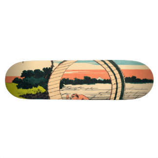 Fuji viewed from rice fields in Owari Province Skate Decks