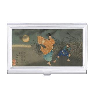 Fujiwara no Yasumasa Plays Flute By Moonlight Business Card Holders